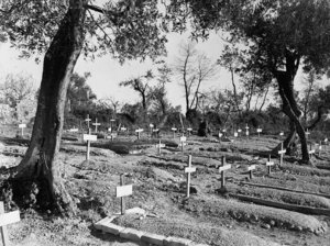 Graves of Loyal Edmonton Regiment soldiers who fell at Ortona. PAC photo.