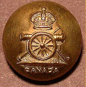 Royal Canadian Military Signals Corps Brass Uniform Button